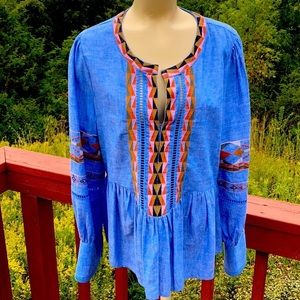 a loves a top embroidered blue linen Top  large